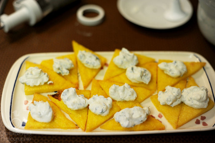 Polenta Crostini with Herbed Ricotta Hats