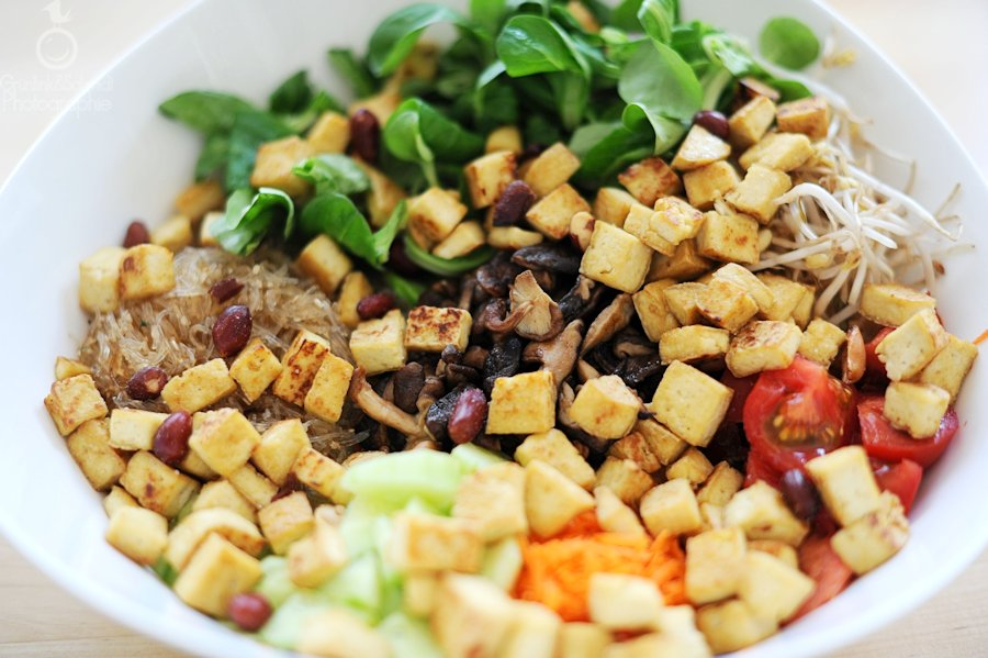 Asian-Inspired Salad with Crispy Tofu Squares and Peanut Dressing