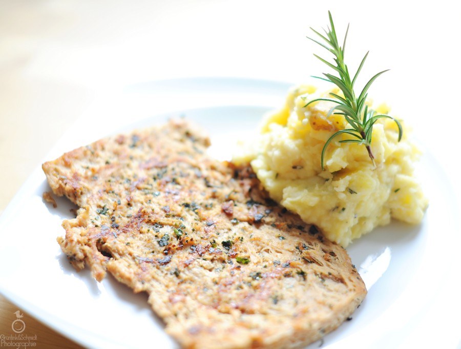 Rustic Rosemary-Lemon Celery-Potato Mash & Basil-crust Soy Steaks