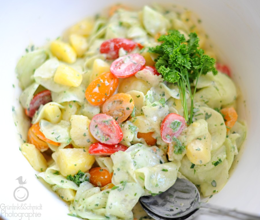 Summery Potato and Cucumber Salad with Cherry Tomatoes & Creamy Dijon Dressing